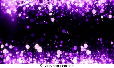 Background with shiny magenta particles. Glittering particles. Beautiful bokeh light background. Magenta confetti shimmering with magical sparkling light. Seamless loop