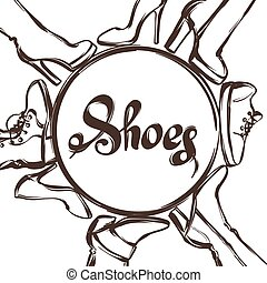 Background with shoes. Hand drawn illustration female footwear, boots and stiletto heels.