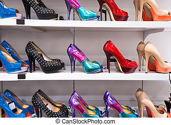 Background with shoes on shelves