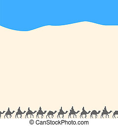 Background with silhouettes of camels
