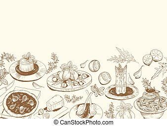 Background with sketch of Mediterranean food
