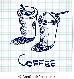 Background with sketch two takeaway coffee cup on checkered paper with space for text