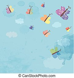Background with sky and butterflies - watercolor style illustration