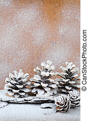 background with snow-covered pine cones