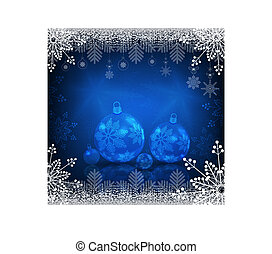 Background with snowflakes and christmas balls with mirror reflection