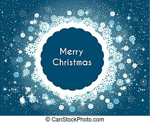 Background with snowflakes and stars, place for text Merry Christmas blue New Year design