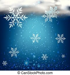 Background with snowflakes in dark sky