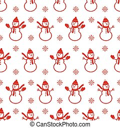 Background with snowman's. Christmas seamless pattern.