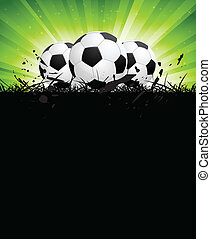 Background with soccer balls and green rays