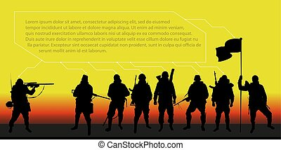 Background with soldiers for the text on the theme of the army, the war (infographic)