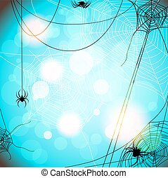 Background with spiders and web - Blue background with...