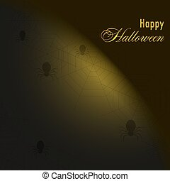 Background with spiders and web.Happy halloween