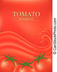 background with splashes, waves of red tomato juice