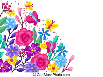 Background with spring flowers. Beautiful decorative natural plants.