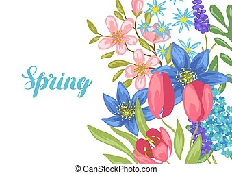 Background with spring flowers.
