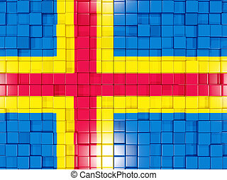 Background with square parts. Flag of aland islands. 3D illustration