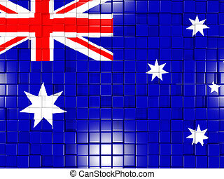 Background with square parts. Flag of australia. 3D illustration