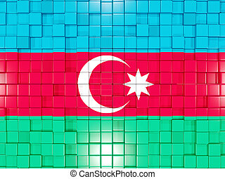 Background with square parts. Flag of azerbaijan. 3D illustration
