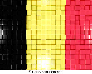 Background with square parts. Flag of belgium. 3D illustration
