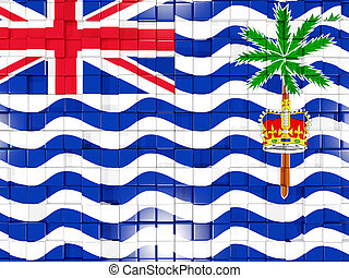 Background with square parts. Flag of british indian ocean territory. 3D illustration