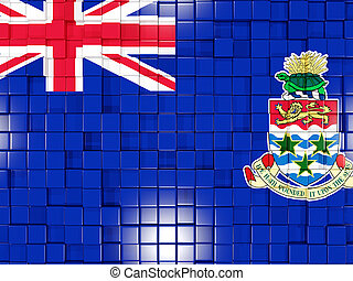Background with square parts. Flag of cayman islands. 3D illustration