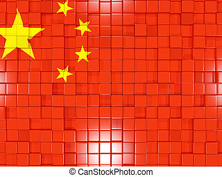Background with square parts. Flag of china. 3D illustration