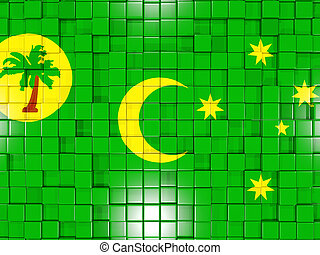 Background with square parts. Flag of cocos islands. 3D illustration
