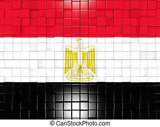 Background with square parts. Flag of egypt. 3D illustration