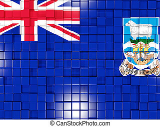 Background with square parts. Flag of falkland islands. 3D illustration