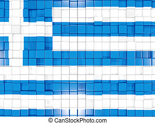 Background with square parts. Flag of greece. 3D illustration