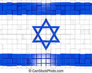 Background with square parts. Flag of israel. 3D illustration