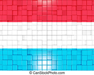Background with square parts. Flag of luxembourg. 3D illustration