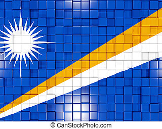 Background with square parts. Flag of marshall islands. 3D illustration