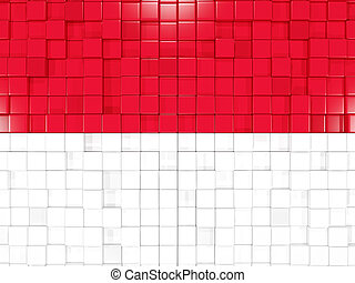 Background with square parts. Flag of monaco. 3D illustration