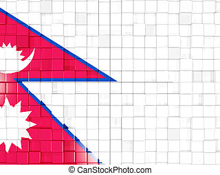 Background with square parts. Flag of nepal. 3D illustration