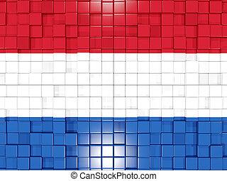 Background with square parts. Flag of netherlands. 3D illustration