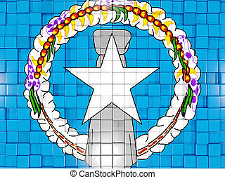 Background with square parts. Flag of northern mariana islands. 3D illustration
