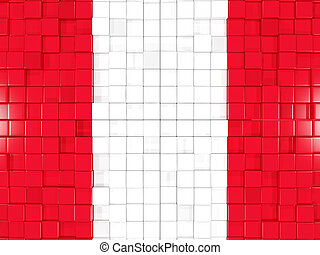 Background with square parts. Flag of peru. 3D illustration
