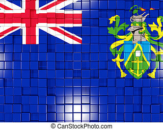 Background with square parts. Flag of pitcairn islands. 3D illustration