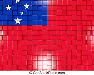 Background with square parts. Flag of samoa. 3D illustration