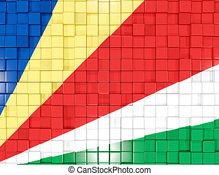 Background with square parts. Flag of seychelles. 3D illustration