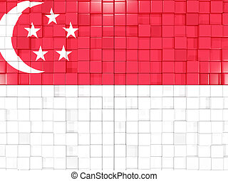 Background with square parts. Flag of singapore. 3D illustration