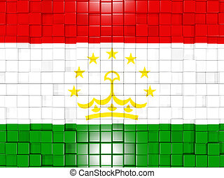 Background with square parts. Flag of tajikistan. 3D illustration