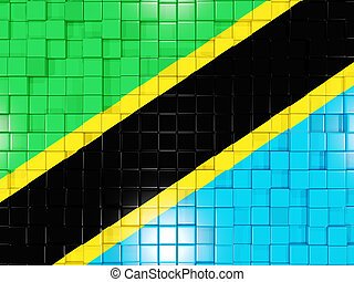 Background with square parts. Flag of tanzania. 3D illustration