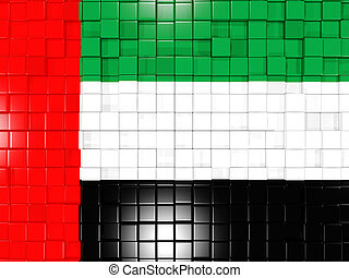 Background with square parts. Flag of united arab emirates. 3D illustration