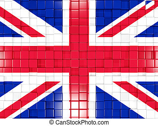 Background with square parts. Flag of united kingdom. 3D illustration