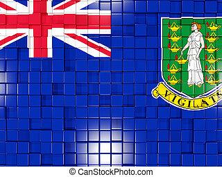 Background with square parts. Flag of virgin islands british. 3D illustration