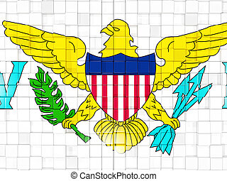 Background with square parts. Flag of virgin islands us. 3D illustration