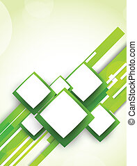 Background with squares and lines in green color