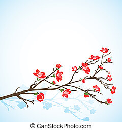 background with sring tree red flowers